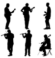 Silhouettes street musicians playing instruments vector image vector image