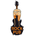 banner for rock pub with glass of beer and guitar vector image