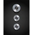 silver control buttons on black vector image