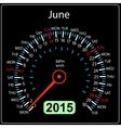 2015 year calendar speedometer car in  June vector image vector image