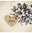 Wedding floral love card vector image