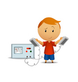 smiling boy with medical defibrillator vector image vector image