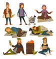 beggars and bum or vagrant homeless people vector image