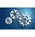 blue background set metal gear mechanism vector image
