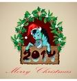 Christmas Blue Horse vector image