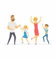 happy family dancing - modern cartoon people vector image