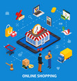 online shopping isometric concept with related vector image