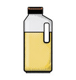 orange juice bottle in colored crayon silhouette vector image
