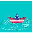 Patriot Day background Paper boat with heart wave vector image