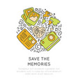 save the memories travel icons concept icon vector image