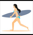 woman surfer run with surfboard vector image