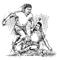 Drawing of soccer players vector image