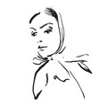 sketching hand draw of woman in shawl vector image