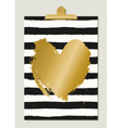Golden Heart and Stripes Poster vector image