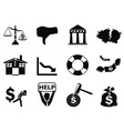 black bankruptcy icons set vector image