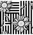 Black white floral seamless background Modern vector image