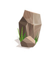 brown stones with green grass landscape design vector image