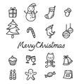 Christmas Outline Icons Set Monochrome vector image