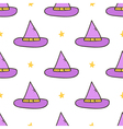 Halloweeen witch hat seamless pattern background vector image