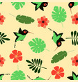 pattern with cartoon hummingbird vector image
