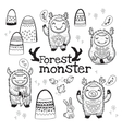 Outline hand drawn cartoon funny monsters vector image