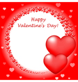 Happy Valentins Day card with red hearts vector image