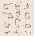 Sketch set coffee design elements - vector image