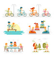 Family cartoon set with celebrations holidays and vector image