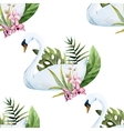 Watercolor swan pattern vector image