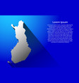 abstract map of finland with long shadow on blue vector image