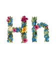Beautiful floral alphabet with flowers vector image