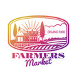 bright farmer market label or emblem vector image
