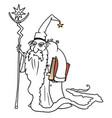 cartoon medieval fantasy wizard sorcerer or royal vector image