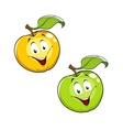 Cartoon ripe fresh apple with leaf vector image