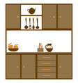 color silhouette of kitchen cabinets with utensils vector image