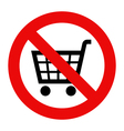 Forbidden sign with cart icon vector image