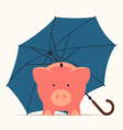 Piggy Bank Standing Under an Umberella vector image