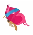 Pink-blue butterfly icon cartoon style vector image