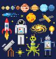 set of space stars alien spaceman robot rocket vector image