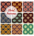 Floral seamless pattern with damask flourishes vector image vector image