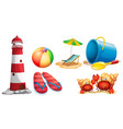 lighthouse and different kinds of beach items vector image vector image