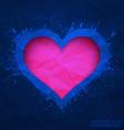 Creased old blue paper with cut pink heart vector image