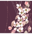blossomig branches on dark background vector image vector image