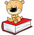 teddy bear sitting on book isolated on white - vector image