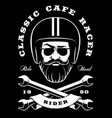 biker with beard and crossed wrenches on dark vector image