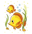 Cute sea yellow two fishes vector image