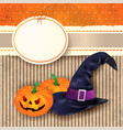 halloween background with witchs hat and pumpkins vector image