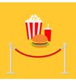 Red rope popcorn soda hamburger Movie Flat vector image