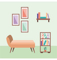 rest room chair comfortable and bookshelf frame vector image