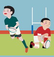 rugby athletic sport cartoon set vector image